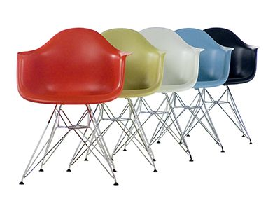 Eames Shell Chairs with wood contains 8-16% recycled content (7 to 13% post-consumer and 3% post-industrial) and is 84-93% recyclable while Eames Shell Chairs without wood contains 14-16% recycled content (12 to 16% post-consumer and 2 to 3% post-industrial) and is 99-100% recyclable with each component labeled to assist recycling.