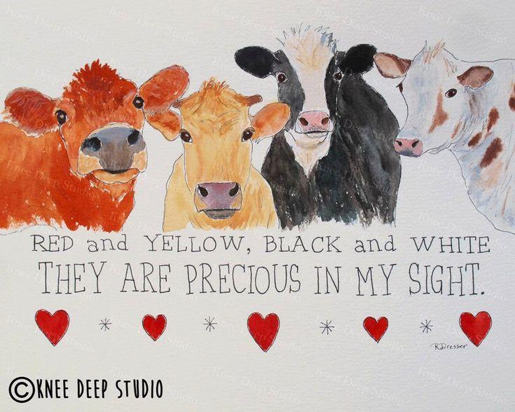 Happy Cows Original Art Print Colorful Farm Animals Rustic Modern Decor Contemporary Fine Art Affordable Nursery Decor Precious in My Sight by KneeDeepOriginals on Etsy https://www.etsy.com/listing/473464366/happy-cows-original-art-print-colorful