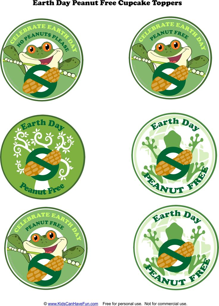 Earth Day Peanut-Free Cupcake Toppers http://www.kidscanhavefun.com/food-allergy-printables.htm #allergy #peanutfree #earthday
