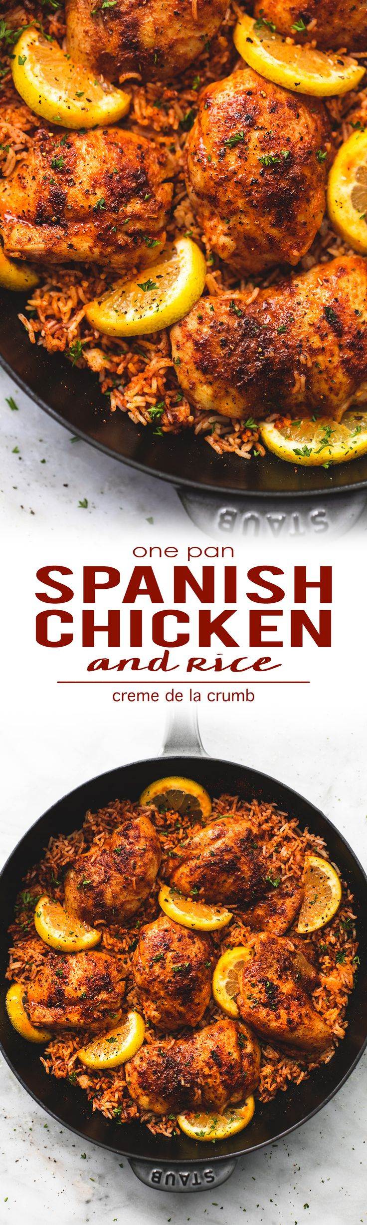 Treat yourself to some snacks! http://amzn.to/2oEqnkm Easy and healthy One Pan Spanish Chicken and Rice 30 minute meal  | lecremedelacrumb.com
