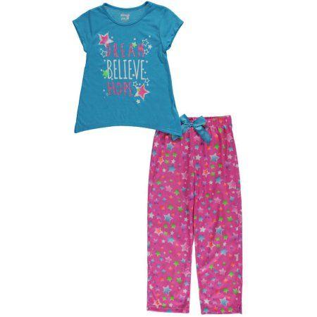 "Sleep On It Big Girls' ""Dream Believe Hope"" 2-Piece Pajamas (Sizes 7 - 16) - Walmart.com"