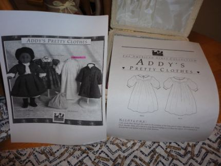 This is the cover pages for the sewing project, American Girl Addys Nightgown.
