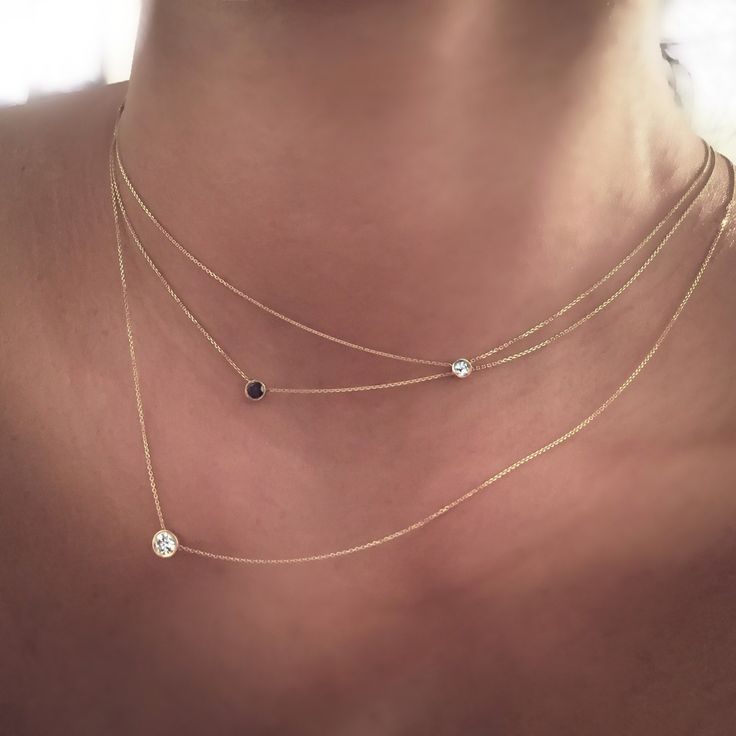 14k Gold .07 carat Solitaire Diamond Necklace by cestsla on Etsy