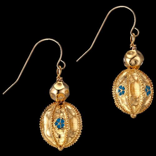 Afganistan Greco-Bactrian 24k gold Granulated Earrings - Period: Hellenistic Age (4th-1st century B.C.)