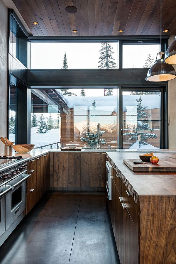 If I were to have a mountain house, this is what it would look like. Such a beautiful kitchen!