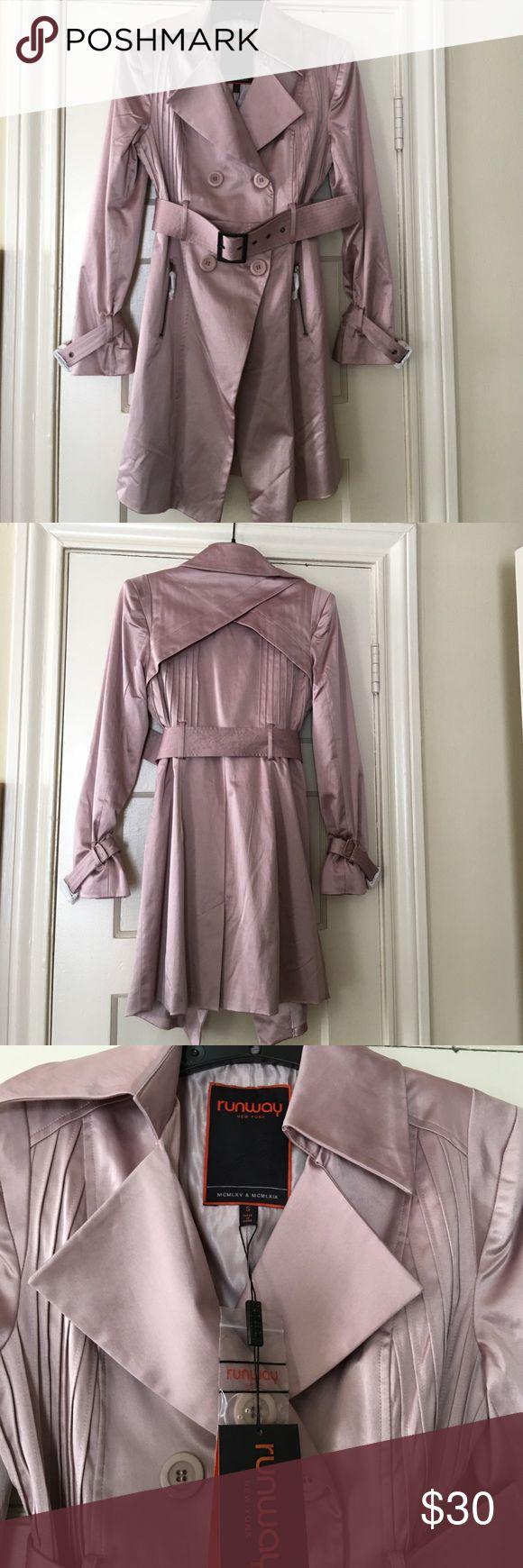 Runway NY Pink Satin Trench Brand new with tags. Size Small. Very dressy Jackets & Coats Trench Coats