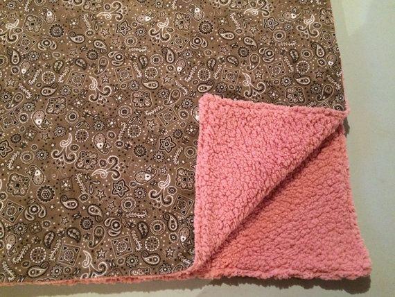 Western Baby Blanket Paisley Baby Blanket Brown and Pink