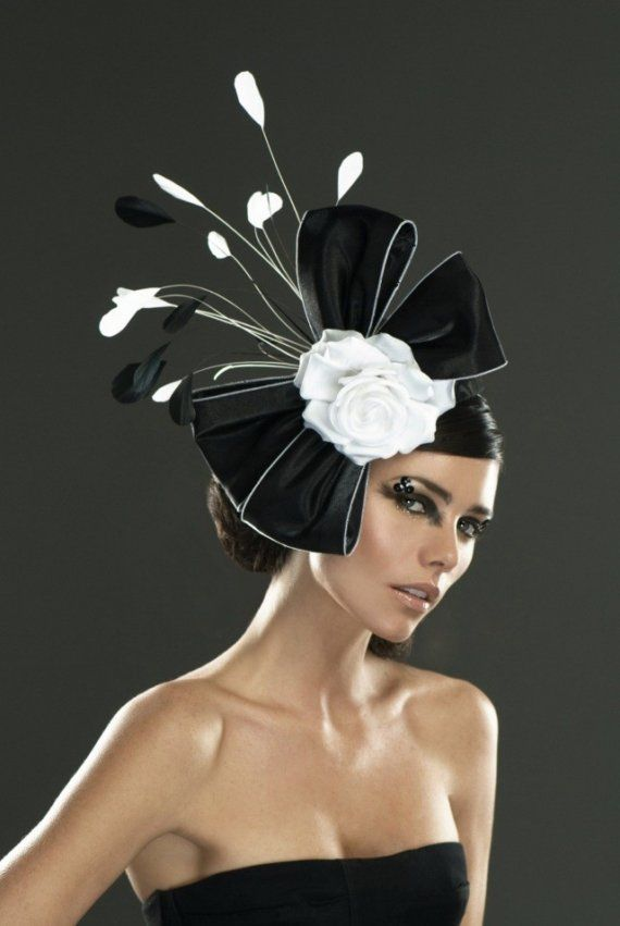 Black and White Cocktail Hat by ArturoRios on Etsy, $159.00