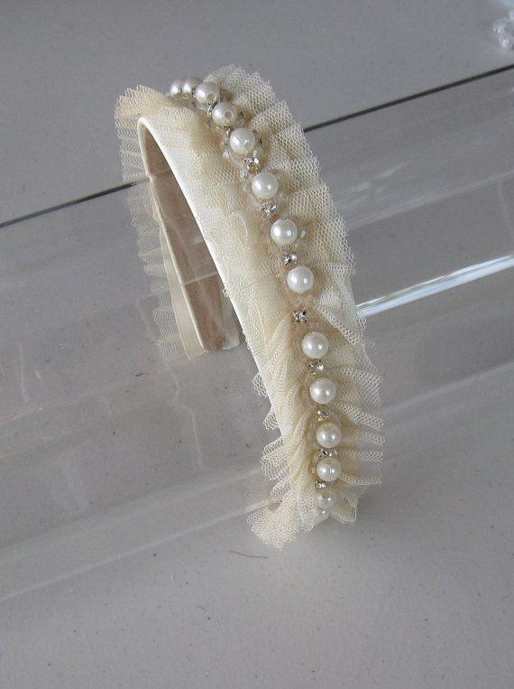 Marfil perla cristal cuentas tul diadema para por HettieSilovitz