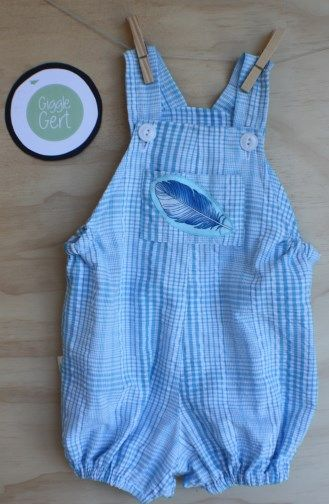 Vintage rompers with feather applique in cotton sky blue check pattern. Press stud closure for ease of changing. 6-9months