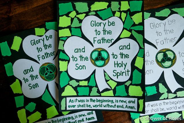 "Shower of Roses: Blessed Trinity Shamrock ""Glory Be"" Prayer Poster {Catechism…"