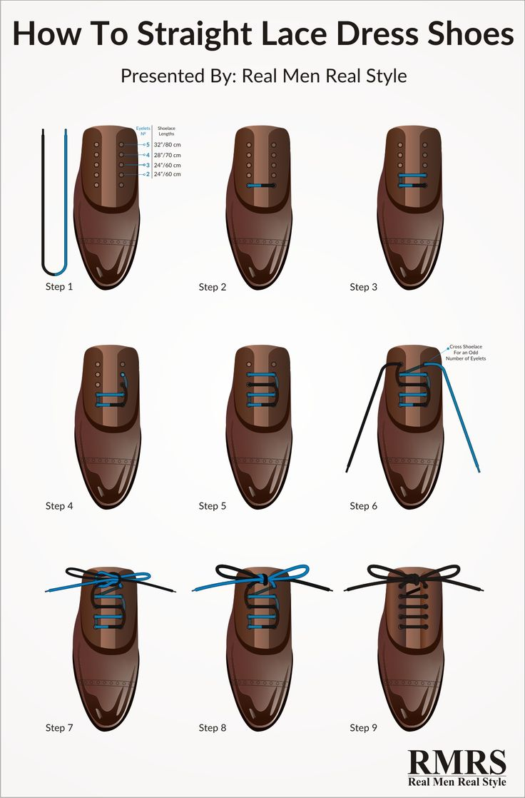Here is a step by step breakdown of the perfect way to lace your dress shoes