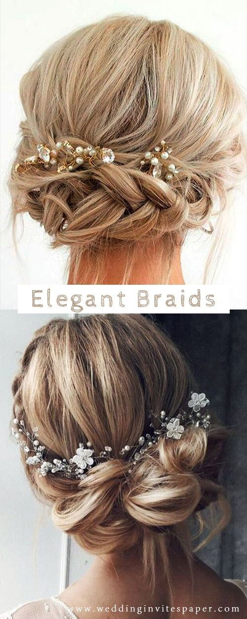 42 Gorgeous Wedding Hairstyles---elegant updo hairstyle with chic hairpieces, vi... - Wedding reception decorations - #Chic #decorations #Gorgeous #ha...