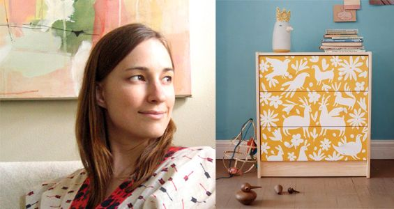 Lena Corwin, Painted Furniture and FavoritesEtsy Blog, Painted Furniture, Painting Furniture, Stencils Drawers, Painted Dressers, Stencils Dressers, Lena Corwin, Painting Dressers, Otomi Stencils