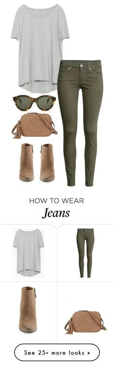 Green jeans, gray grey top, booties tan