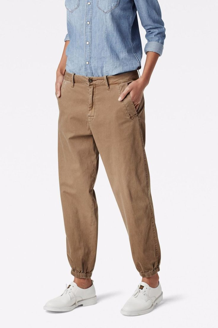 """The Bronson is the signature G-Star chino. Infused with a sportier look, this version features drawn-in hems and relaxed, tapered legs. Wide reinforcements at the pocket edges add a casual edge.    Measures: 27"""" inseam   Twill Boyfriend Trainer by G-Star Raw. Clothing - Bottoms - Pants & Leggings - Joggers Canada"""
