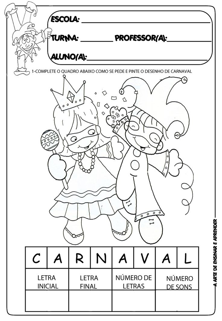 Atividades temáticas carnaval