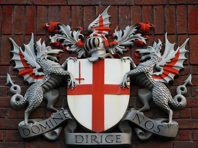 17.)  Even the Coat of Arms for the City of London incorporates the St. George flag in its shield crest.    @visitlondon