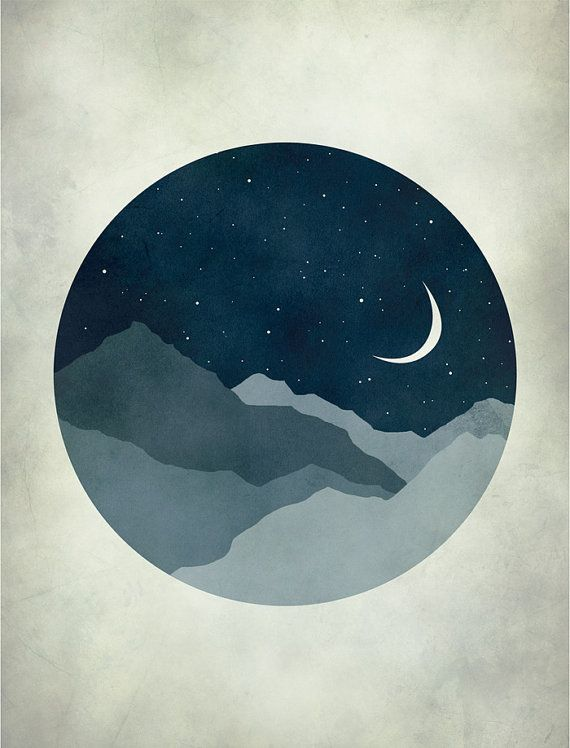 Starry Night, Moon and Stars, Nursery Decor, Kids Wall Art, Mid Century Modern Art, Whimsical