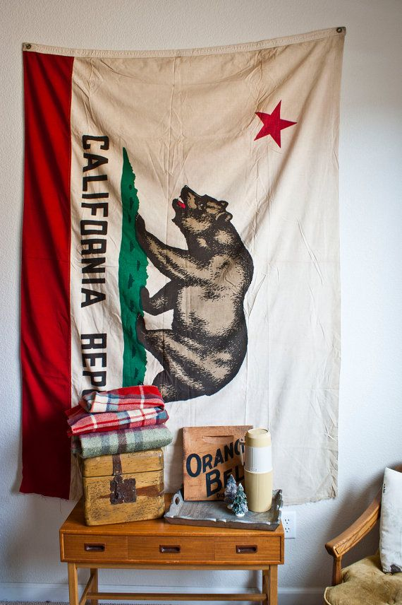 LARGE Vintage Cotton California State Flag by TheWildWorld on Etsy