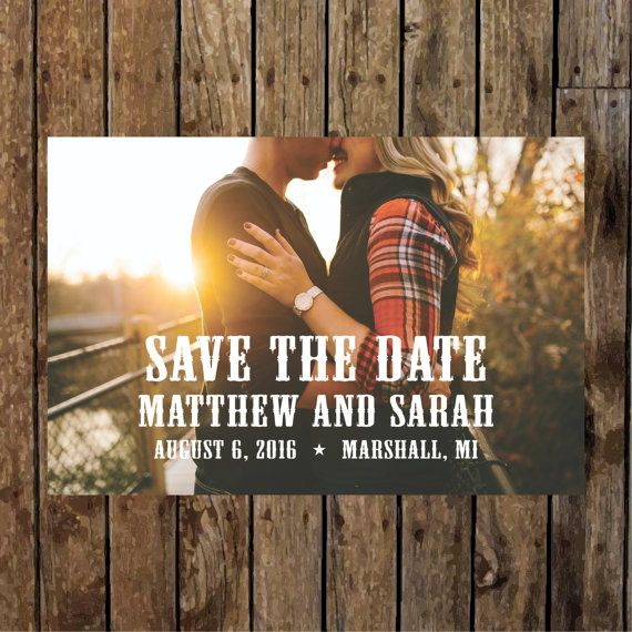 Simple Rustic, Country Western Save the Date with Photo. On Etsy $18.