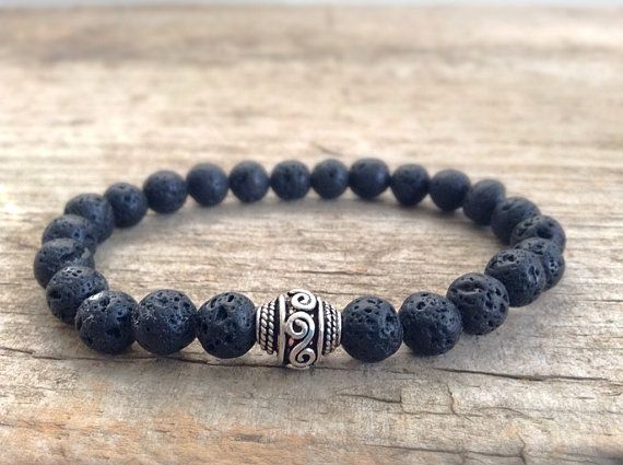 Men's Bracelet - Black Lava Stone & Bali Silver - Men's Bohemian Jewelry