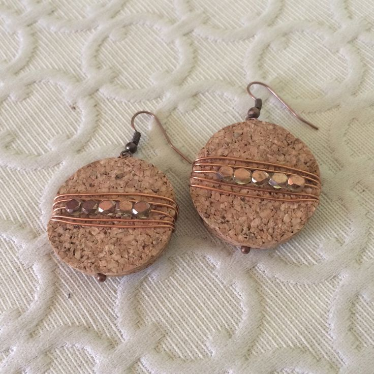 Wire wrapped cork earrings, boho jewelry, upcycled wine cork, copper beaded earrings, eco friendly earrings, dangle earring, copper earring by TelltaleTrinketShop on Etsy https://www.etsy.com/listing/462257308/wire-wrapped-cork-earrings-boho-jewelry
