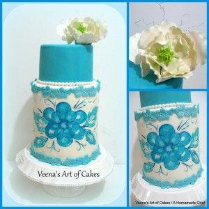 Double Barrel Blue Lace wedding cake.