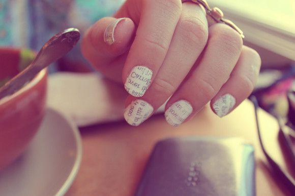 Using vodka to create this newsprint nail art!Nails Art, Stories Book, Literary Manicures, Fall Nails, Nailart, Modern Wedding, Beautiful Secret, Nail Art, Newspaper Nails
