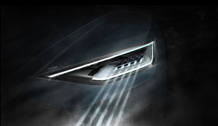 Audi Prologue: concept car headlight sketch - clear lines fading into black to communicate the light's main feature