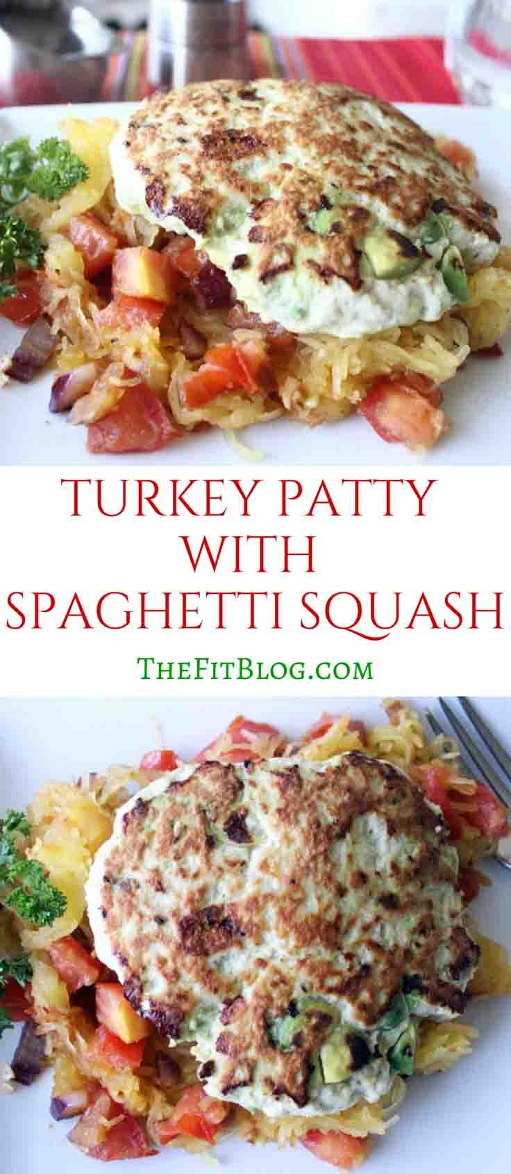 These turkey patties get super juicy because the avocado adds moisture and the spaghetti squash is a perfect low carb substitute for a burger bun.