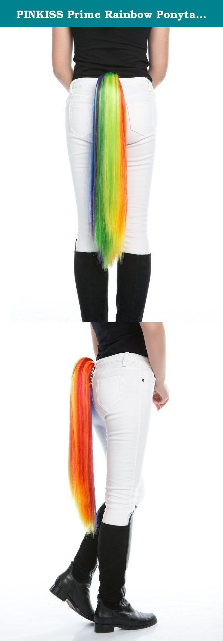 PINKISS Prime Rainbow Ponytail Costume Fashion Colorful Tail for Party Event with Large Clipper (Rainbow). High quality rainbow costume ponytail is made of Japanese synthetic fiber. Bright rainbow color attract more eyes to you. The ponytail is about 27 inch long, appropriate length for girls. With large clipper inside, it is firm even if you are dancing in the pool. Also best accessory for holiday, party and special event. Very easy to clean the wig by warm water and mild soap by hand....