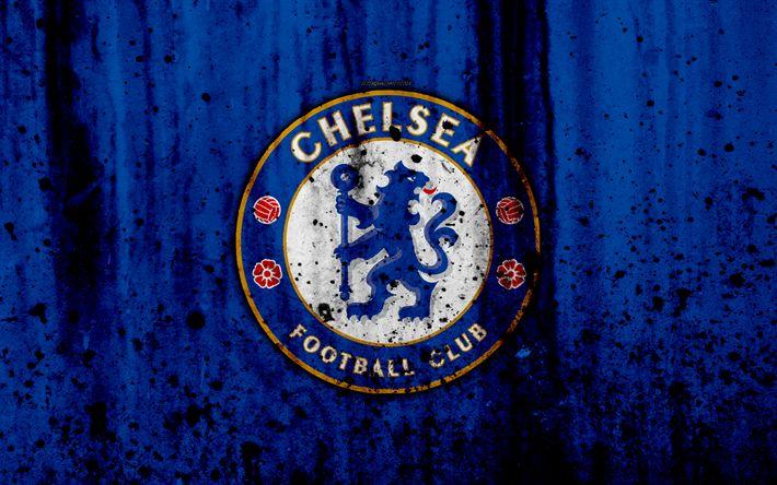 Download wallpapers FC Chelsea, 4k, Premier League, logo, England, soccer, football club, grunge, Chelsea, art, stone texture, Chelsea FC