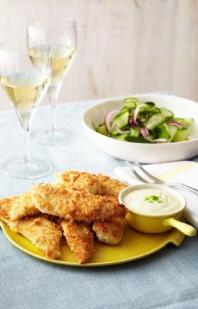 Crispy Coconut Chicken with Coconut and Lime Mayonnaise