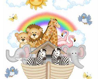 NOAHS ARK WALL Art Print Bible Story Baby Animals by decampstudios