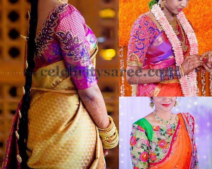 Thread Work Elbow Length Blouses | Saree Blouse Patterns