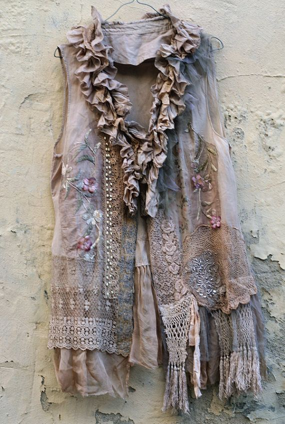 PLEASE do NOT PURCHASE, this vest is RESERVED for PAULA    Long feminine floaty silk vest in refined shades, with bohemian flair and intricate