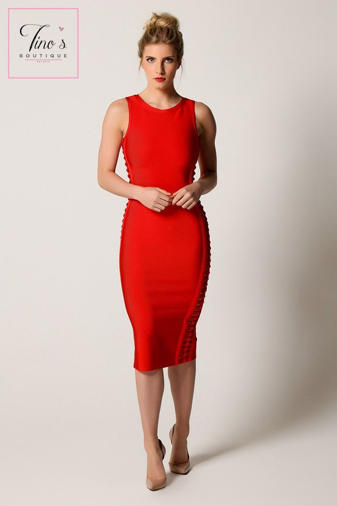'Raelyn' Red Cut Out Bandage Dress