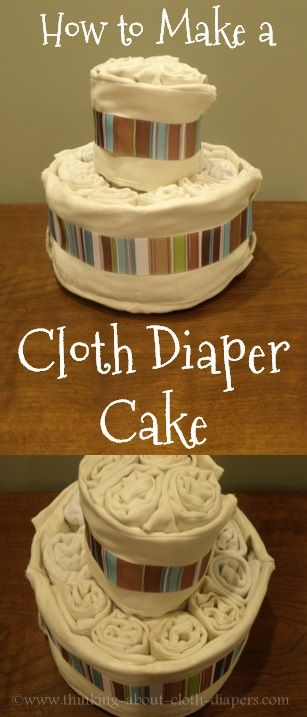 Cloth diaper cakes are the perfect baby shower gift for green-minded moms.  This photo tutorial shows how to make one quickly and easily, and links to lots of inspiring photos to help you decide on the finishing touches too!