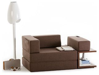 an armchair with side storage that transforms into a love seat lounger and a twin sleeper sofassofa