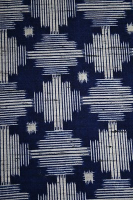 Vintage Japanese Wool Mix Modernist Print Kimono Fabric