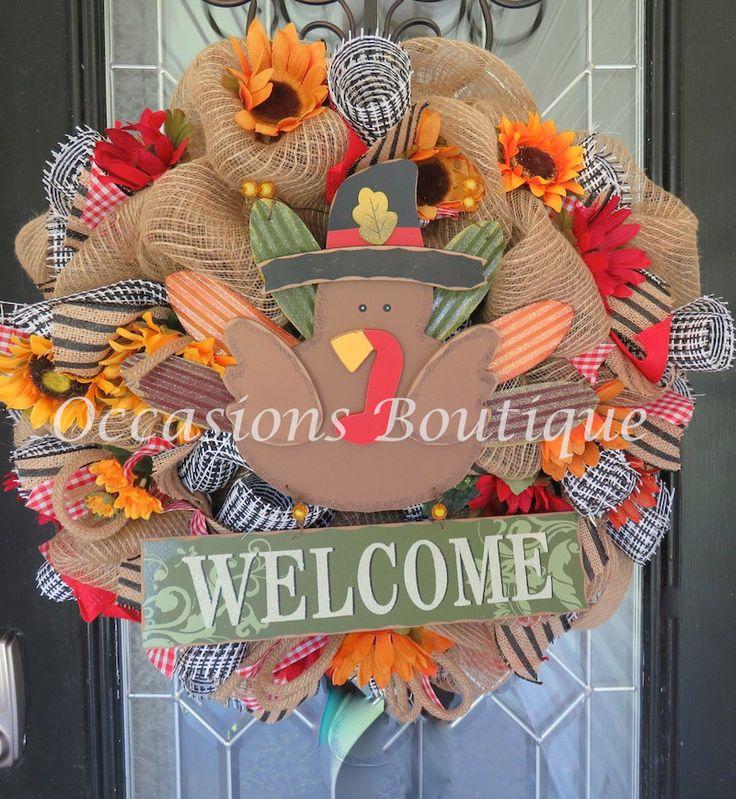 Burlap Fall Wreath, Autumn Wreath, Front door Wreath, Welcome wreath, Door…