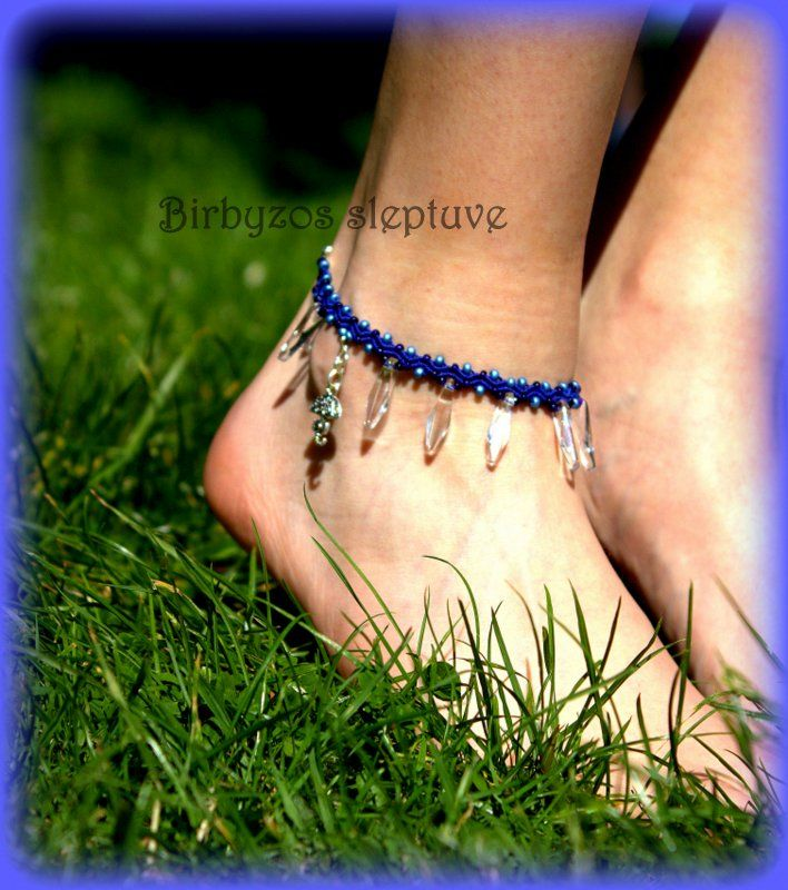 #blue #macrame #anklet #with #tibetiansilver #charms #and #glass #drops <3