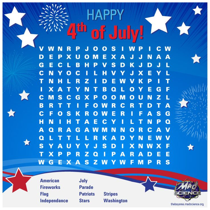 Special 4th July crossword puzzle to celebrate the ‪#‎IndependenceDay‬ !!    #MadScience #BayArea