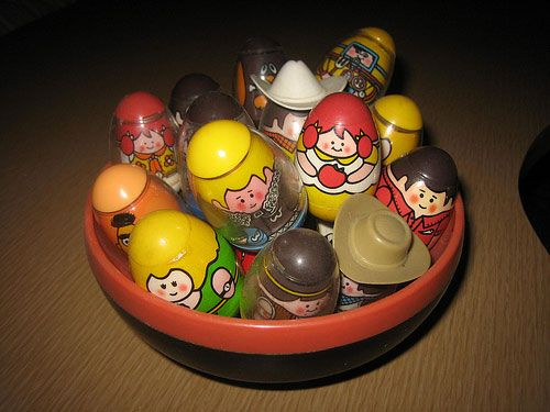 The first Weeble toys appeared in the early 1970s as a kind of punching clown style body from Romper Room.  Weebles are supposed to be miniature versions of those bop bag punching things.  WEEBLES WOBBLE BUT THEY DON'T FALL DOWN!!!""