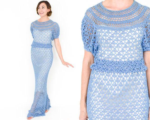 40s Blue Crochet Evening Dress | Short Sleeve Maxi Dress |  Small Medium