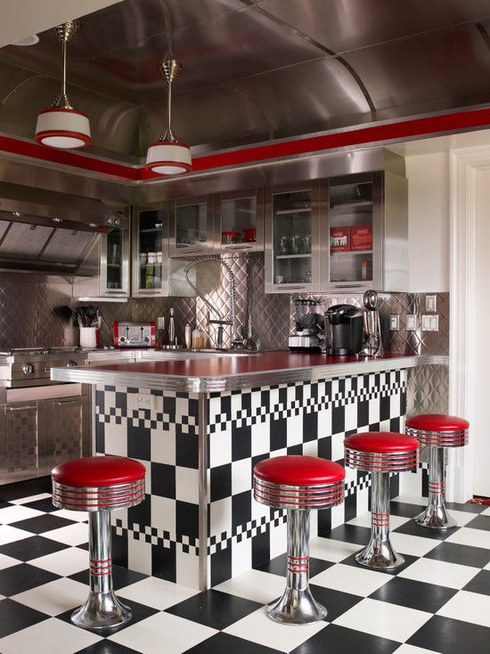 50′s Diner Kitchen Photos as The Best Oldist Kitchen Designs: Eclectic Kitchen With 50s Diner Kitchen Ideas See That Unique Hanging Lights And Stainless Steel Ceiling Panels Inspiring Ideal 50's Diner Kitchen Design And Decorations ~ mu111.com Kitchen Inspiration