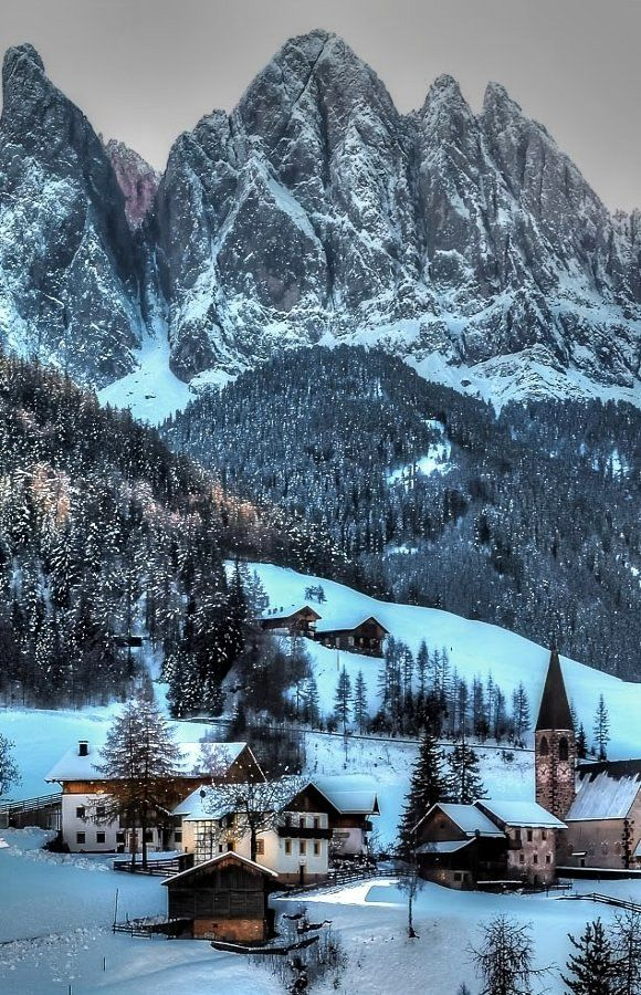 Funes in winter, Italy South Tyrol Trentino Alto Adige