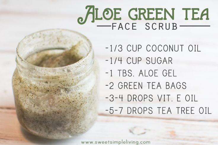 DIY: aloe green tea face scrub