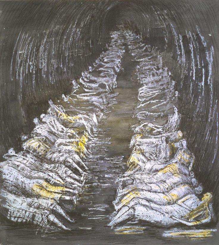 Henry Moore OM, CHTube Shelter Perspective 1941 http://www.tate.org.uk/art/artworks/moore-tube-shelter-perspective-n05709